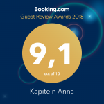 Booking.com Guest Review Award 2017 Kapitein Anna 9 out of 10