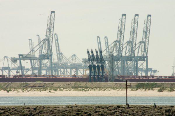 Als we door de havens van rotterdam varen kunnen we de kranen op de Maasvlakte zien